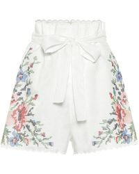 Zimmermann Shorts Juliette de lino florales - Blanco