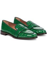 Aquazzura Martin Croc-effect Leather Loafers - Green