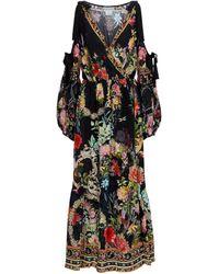 Camilla Robe portefeuille en soie imprimée à ornements - Multicolore