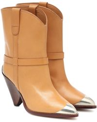 Isabel Marant Ankle Boots Lamsy aus Leder - Natur