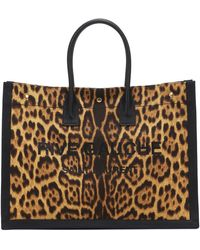 Saint Laurent Rive Gauche Leopard-print Tote Bag - Brown