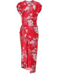 Paco Rabanne Asymmetric Printed Stretch-jersey Midi Dress - Red
