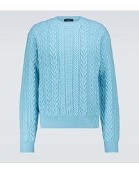 Versace Pullover aus Wolle mit Zopfmuster - Blau