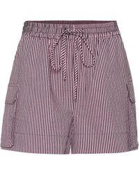 Ganni Striped Seersucker Shorts - Purple