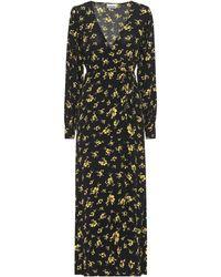 Ganni Vestido largo y cruzado con estampado floral - Negro