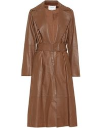 Vince Leather Trench Coat - Brown