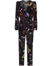 Stella McCartney Mono de crepé de seda floral - Negro
