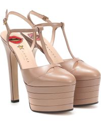 Gucci Angel Leather Platform Pumps - Natural