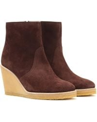A.P.C. | Gaya Suede Wedge Ankle Boots | Lyst