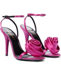 Saint Laurent Sandalen Ivy aus Seidensatin - Pink