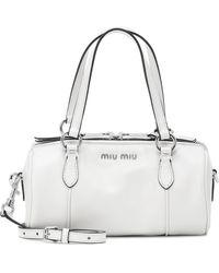 Miu Miu Bolso cruzado Mini Bowler de piel - Blanco