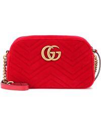 fab1813788b Gucci Gg Marmont Velvet Shoulder Bag in Green - Lyst