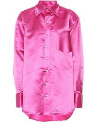 Matthew Adams Dolan Oversized Silk Shirt - Pink