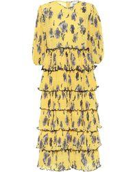 Ganni Exclusivité Mytheresa – Robe midi imprimée en crêpe - Jaune