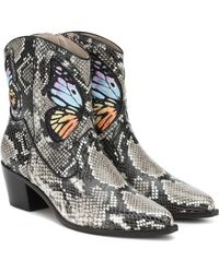 Sophia Webster Snake Print & Rainbow Multicoloured Shelby 50 Snake Print Leather Cowboy Boots - Multicolor