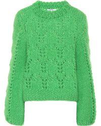 Ganni Julliard Mohair And Wool Sweater - Green