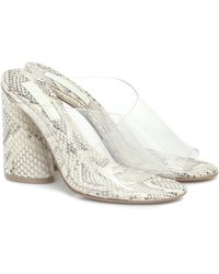 MERCEDES CASTILLO Kuri Snake-effect Leather Sandals - White