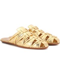 The Row Capri metallic snakeskin slippers
