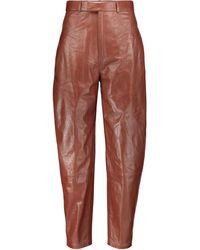 Zeynep Arcay Pantalones de piel de tiro alto - Marrón