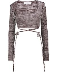 Christopher Esber Ribbed-knit Crop Top - Multicolour