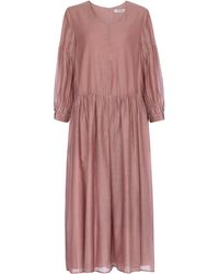 Max Mara Adorno Cotton And Silk Organza Midi Dress - Pink