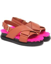Marni - Fussbett Shearling-trimmed Sandals - Lyst