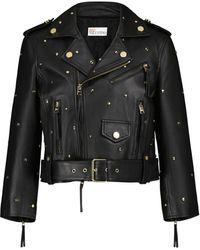 RED Valentino Studded Leather Jacket - Black