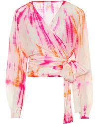 Anna Kosturova Exclusivo en Mytheresa - blusa de seda con print tie-dye - Rosa