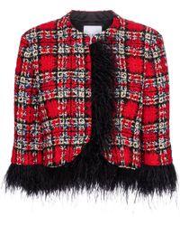 Halpern Feather-trimmed Tartan Jacket - Red