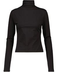 Lemaire Top de cuello alto de algodón elástico - Negro
