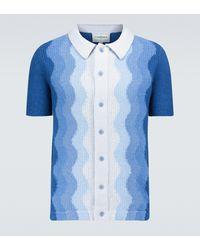 CASABLANCA Poloshirt Bouclé Memphis aus Baumwolle - Blau