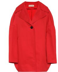 Marni Cotton And Linen Coat - Red