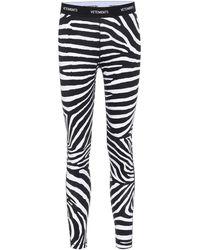 Vetements Logo Zebra-print leggings - Black