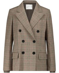 Sacai Checked Cotton-blend Blazer - Brown
