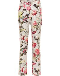Etro Floral Cotton And Silk-blend Trousers - Multicolour