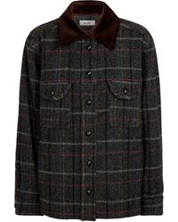 Blazé Milano Checked Wool Shirt Jacket - Grey