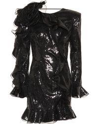 Dundas Robe à sequins et organza - Noir