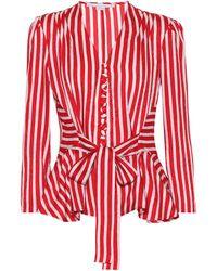 Stella McCartney Gestreifte Bluse aus Seide - Rot
