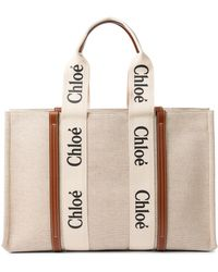 Chloé Woody Large Canvas Tote - Natural