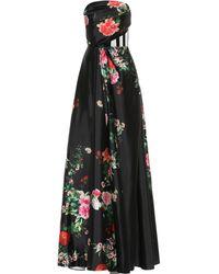 Alex Perry Archer Floral Satin Dress - Black