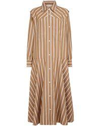 Lee Mathews Robe chemise en coton à rayures - Marron
