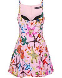 Versace Bedrucktes Minikleid Trésor de la Mer - Pink
