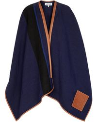 Loewe Leather-trimmed Linen And Cotton Cape - Blue