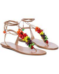 Aquazzura Tutti Frutti Leather And Raffia Sandals - Natural
