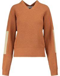 Victoria Beckham Pullover aus Wolle mit V-Ausschnitt - Orange