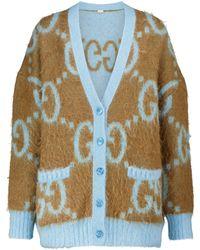 Gucci GG Reversible Mohair-blend Cardigan - Blue