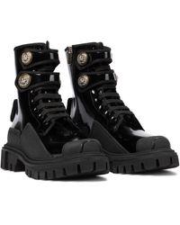 Dolce & Gabbana Patent Leather Combat Boots - Black