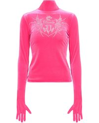Vetements Kristallverziertes Longsleeve aus Samt - Pink