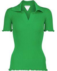 Bottega Veneta Ribbed-knit Cotton Polo Shirt - Green