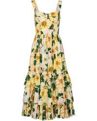 Dolce & Gabbana Vestido midi de popelín de algodón - Amarillo